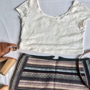 Mossimo • Cream Crochet Crop Top • Large